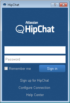 Hipchat login screen