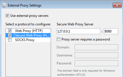Charles external proxy settings
