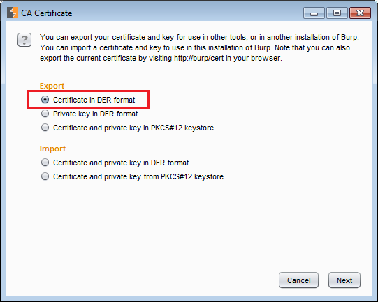 Exporting the certificate in Burp