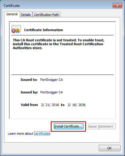 Install certificate button