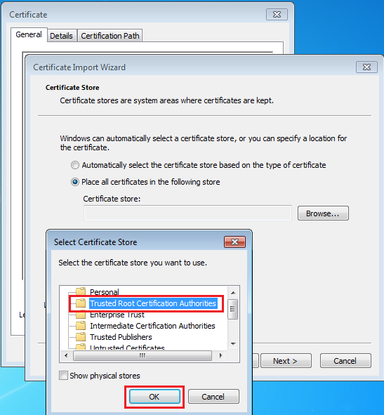 Selecting the root CA certificate store