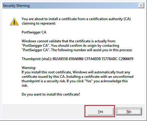 Security warning when installing a root CA