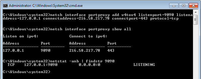 Portproxy to Google