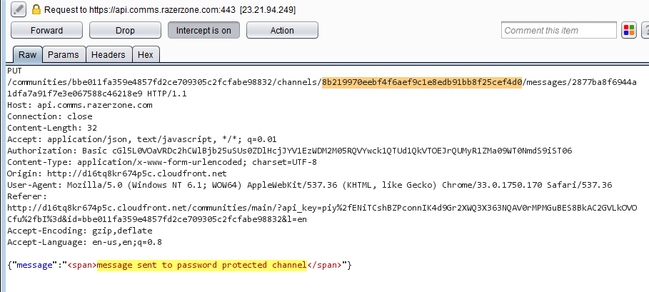 Modified chat channelID to point to the password protected channel