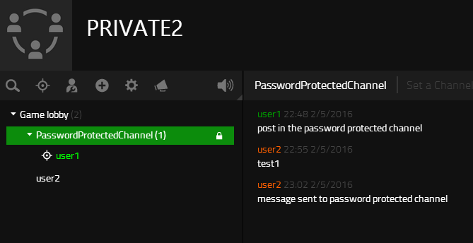 Message posted to the password protected channel